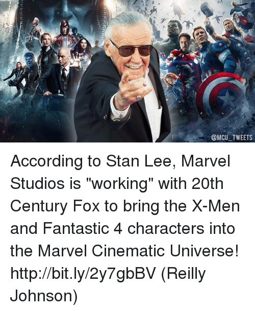 "johnsons: @MCU TWEETS According to Stan Lee, Marvel Studios is ""working"" with 20th Century Fox to bring the X-Men and Fantastic 4 characters into the Marvel Cinematic Universe! http://bit.ly/2y7gbBV  (Reilly Johnson)"