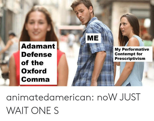 adamant: ME  Adamant  Defense  of the  Oxford  Comma  My Performative  Contempt for  Prescriptivism animatedamerican: noW JUST WAIT ONE S