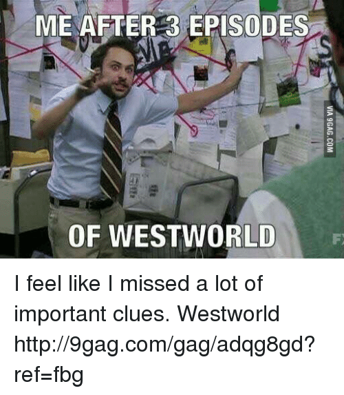 west world: ME AFTER 3 EPISODES  OF WEST WORLD I feel like I missed a lot of important clues.  Westworld http://9gag.com/gag/adqg8gd?ref=fbg