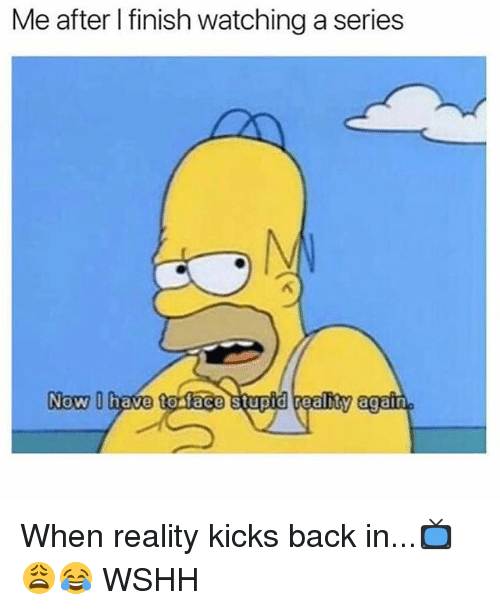 Memes, Wshh, and Reality: Me after I finish watching a series  Now D  NOW have toaface stupid realnty again When reality kicks back in...📺😩😂 WSHH