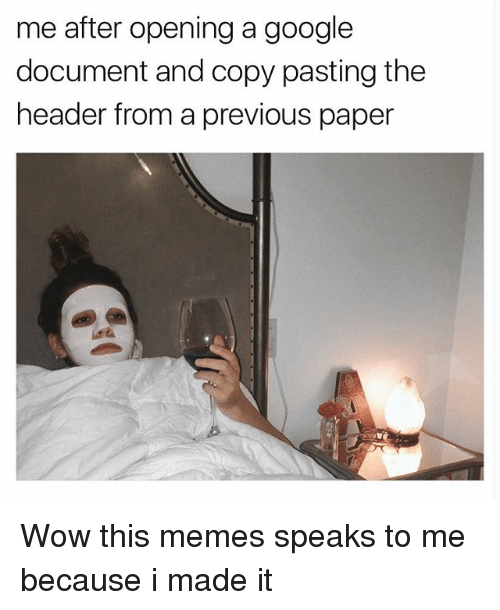 Google, Memes, and Wow: me after opening a google  document and copy pasting the  header from a previous paper Wow this memes speaks to me because i made it