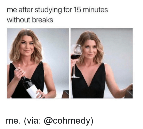 Memes, 🤖, and  15 Minutes: me after studying for 15 minutes  without breaks me. (via: @cohmedy)