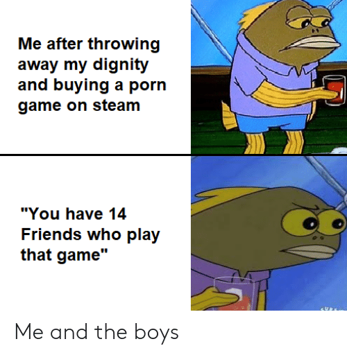 "game on: Me after throwing  away my dignity  and buying a porn  game on steam  ""You have 14  Friends who play  that game"" Me and the boys"
