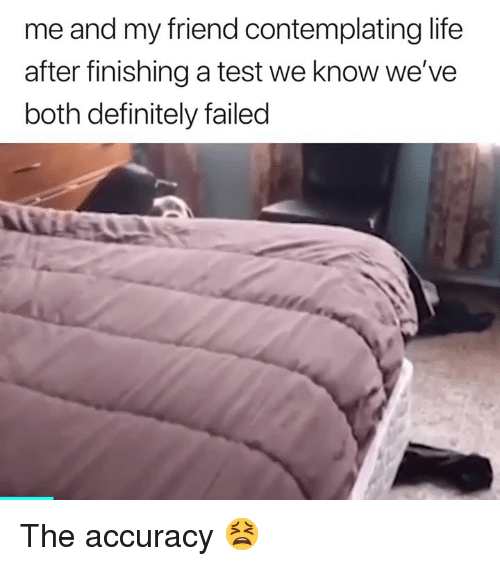 Definitely, Life, and Test: me and my friend contemplating life  after finishing a test we know we've  both definitely failed The accuracy 😫