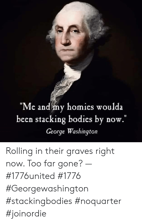 """Me And My Homies: """"Me and my homies woulda  been stacking bodies by now.  George Washington Rolling in their graves right now. Too far gone? — #1776united #1776 #Georgewashington #stackingbodies #noquarter #joinordie"""