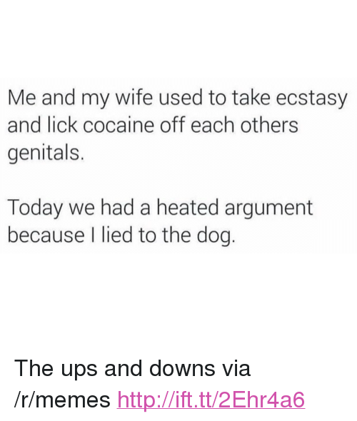 """Memes, Ups, and Cocaine: Me and my wife used to take ecstasy  and lick cocaine off each others  genitals.  Today we had a heated argument  because I lied to the dog. <p>The ups and downs via /r/memes <a href=""""http://ift.tt/2Ehr4a6"""">http://ift.tt/2Ehr4a6</a></p>"""
