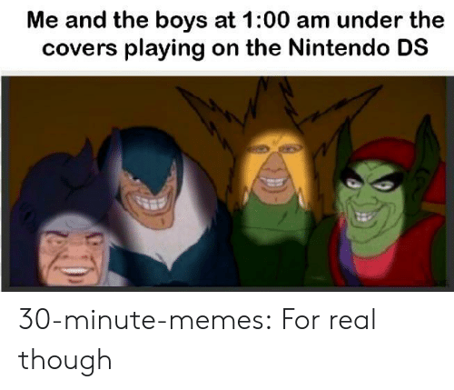 nintendo ds: Me and the boys at 1:00 am under the  covers playing on the Nintendo DS 30-minute-memes:  For real though