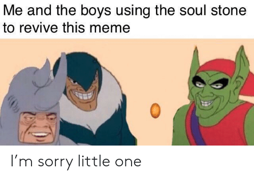 Revive: Me and the boys using the soul stone  to revive this meme I'm sorry little one