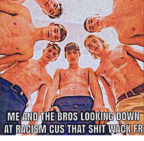 looking down: ME AND THE BROS LOOKING DOWN  AT RACISM CUS THAT SHIT WACIFR