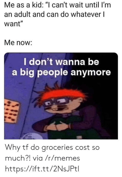 """im an adult: Me as a kid: """"I can't wait until I'm  an adult and can do whatever l  want""""  Me now:  I don't wanna be  a big people anymore Why tf do groceries cost so much?! via /r/memes https://ift.tt/2NsJPtl"""