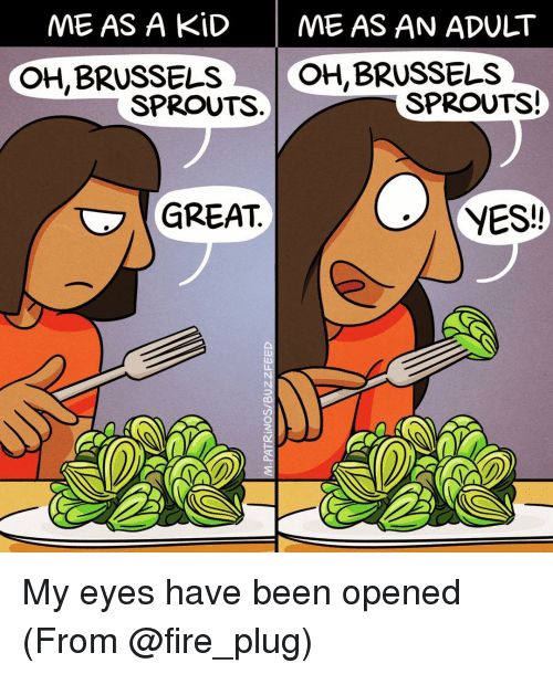 brussels sprout: ME AS A KID  ME AS AN ADULT  OH, BRUSSELS  OH BRUSSELS  SPROUTS!  SPROUTS  GREAT  YES! My eyes have been opened (From @fire_plug)