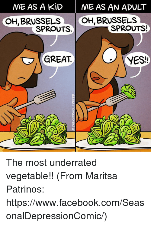 brussels sprout: ME AS A KID  ME AS AN ADULT  OH, BRUSSELS  OH, BRUSSELS  SPROUTS!  SPROUTS  YES!  GREAT The most underrated vegetable!! (From Maritsa Patrinos: https://www.facebook.com/SeasonalDepressionComic/)