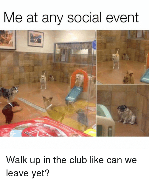 Club, Girl Memes, and Can: Me at any social event Walk up in the club like can we leave yet?