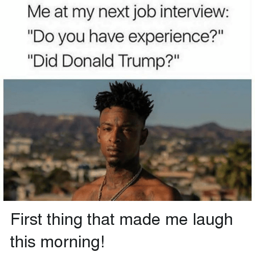 "Donald Trump, Job Interview, and Memes: Me at my next job interview:  ""Do you have experience?""  ""Did Donald Trump?"" First thing that made me laugh this morning!"