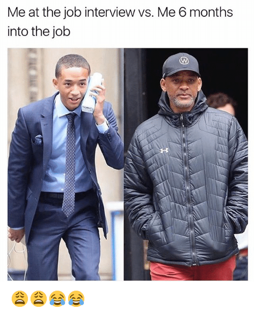 Job Interview, Memes, and 🤖: Me at the job interview vs. Me 6 months  into the job 😩😩😂😂