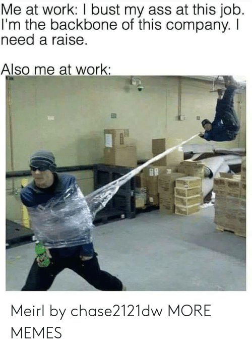 backbone: Me at work: I bust my ass at this job.  I'm the backbone of this company. I  need a raise.  Also me at work: Meirl by chase2121dw MORE MEMES