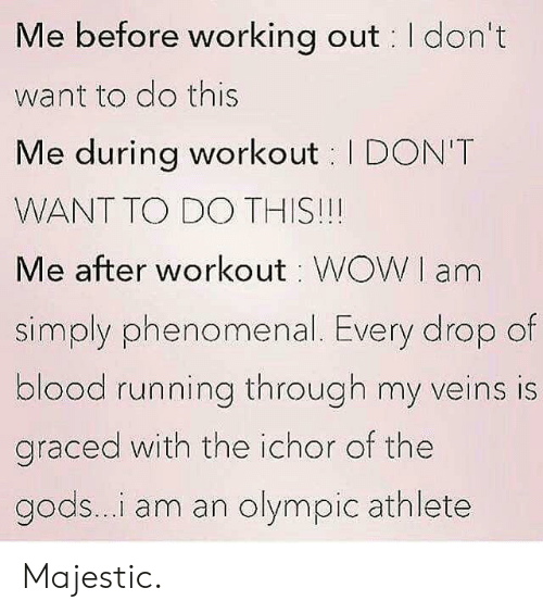 olympic: Me before working out I don't  want to do this  Me during workout I DON'T  WANT TO DO THIS!!!  Me after workout WOWI am  simply phenomenal. Every drop of  blood running through my veins is  graced with the ichor of the  gods...i am an olympic athlete Majestic.