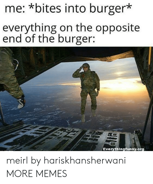 bites: me: *bites into burger*  everything on the opposite  end of the burger:  Everythingfunny.org meirl by hariskhansherwani MORE MEMES