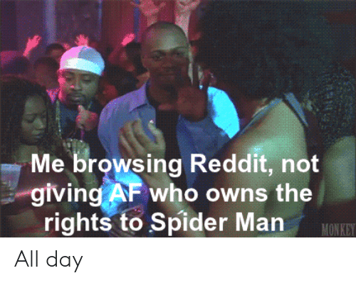 owns: Me browsing Reddit, not  giving AF who owns the  rights to Spider Man  MONKEY All day