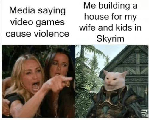 building a: Me building a  house for my  Media saying  video games  Wite and kids in  Skyrim  cause violence