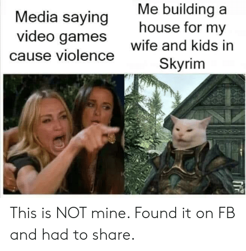 building a: Me building a  house for my  Media saying  video games  wife and kids in  cause violence  Skyrim This is NOT mine. Found it on FB and had to share.