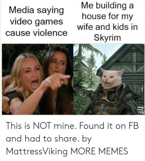building a: Me building a  house for my  Media saying  video games  wife and kids in  cause violence  Skyrim This is NOT mine. Found it on FB and had to share. by MattressViking MORE MEMES