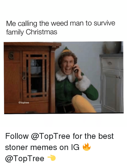 stoner: Me calling the weed man to survive  family Christmas  @toptree Follow @TopTree for the best stoner memes on IG 🔥@TopTree 👈