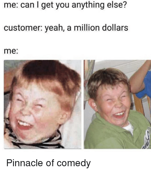 Pinnacle: me: can I get you anything else?  customer: yeah, a million dollars  me: Pinnacle of comedy