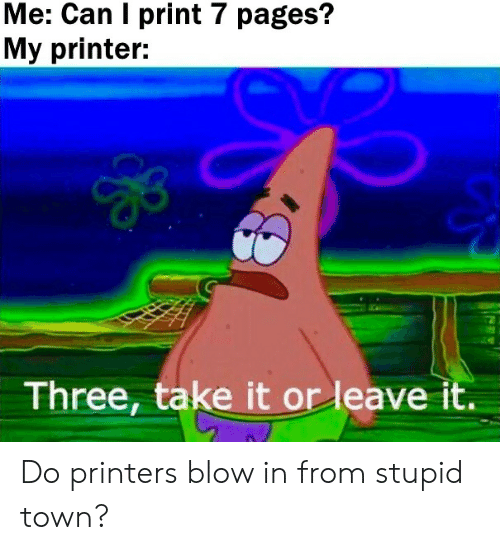 pages: Me: Can I print 7 pages?  My printer:  Three, take it or leave it. Do printers blow in from stupid town?