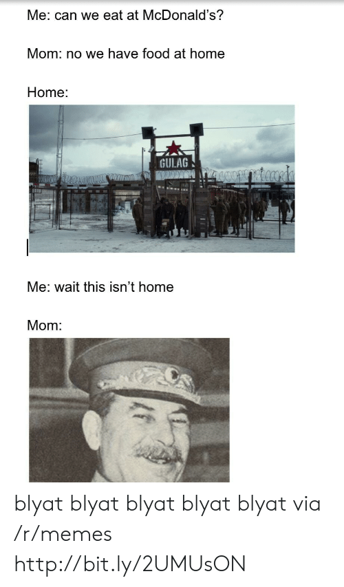 gulag: Me: can we eat at McDonald's?  Mom: no we have food at home  Home:  GULAG  Me: wait this isn't home  Mom blyat blyat blyat blyat blyat via /r/memes http://bit.ly/2UMUsON