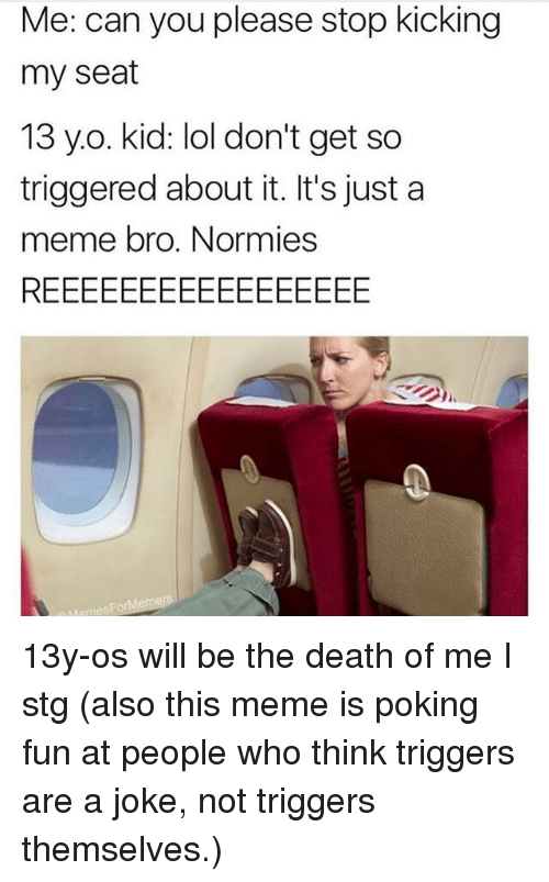 Lol, Meme, and Memes: Me: can you please stop kicking  my seat  13 y.o. kid: lol don't get so  triggered about it. It's just a  meme bro. Normies 13y-os will be the death of me I stg (also this meme is poking fun at people who think triggers are a joke, not triggers themselves.)
