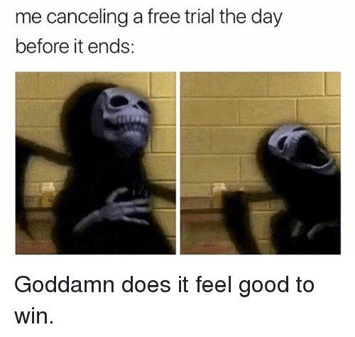 Memes, Free, and Good: me canceling a free trial the day  before it ends: Goddamn does it feel good to win.