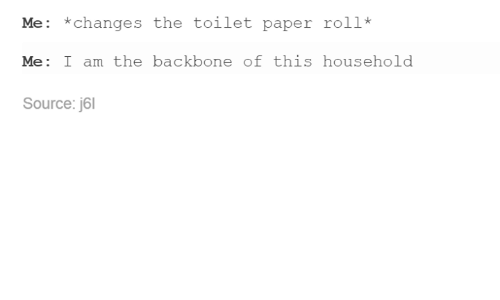 Changing The Toilet Paper Roll: Me: *changes the toilet paper roll*  Me: I am the backbone of this household  Source: j6l