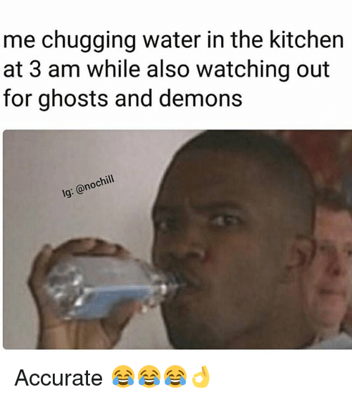 Funny, Water, and Ghosts: me chugging water in the kitchen  at 3 am while also watching out  for ghosts and demons  lg: @nochill Accurate 😂😂😂👌