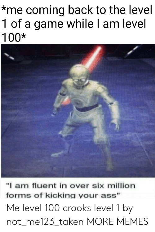 """kicking: *me coming back to the level  1 of a game while I am level  100*  """"I am fluent in over six million  forms of kicking your ass"""" Me level 100  crooks level 1 by not_me123_taken MORE MEMES"""