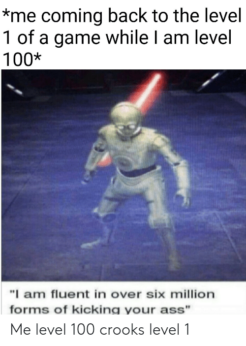 "kicking: *me coming back to the level  1 of a game while I am level  100*  ""I am fluent in over six million  forms of kicking your ass"" Me level 100  crooks level 1"