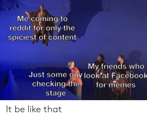 Spiciest: Me coming to  reddit for only the  spiciest of content  My friends who  Just some guy look at Faceboo-  for memes  checking the  stage It be like that