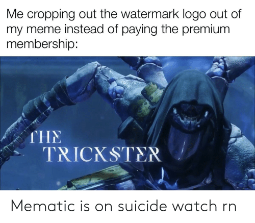 On Suicide Watch: Me cropping out the watermark logo out of  my meme instead of paying the premium  membership:  THE  TRICKSTER Mematic is on suicide watch rn