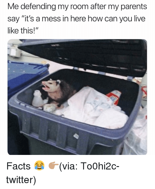 "Facts, Funny, and Parents: Me defending my room after my parents  say ""it's a mess in here how can you live  like this!"" Facts 😂 👉🏽(via: To0hi2c-twitter)"