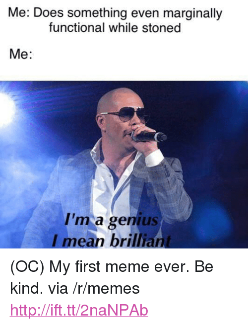 """Meme, Memes, and Genius: Me: Does something even marginally  functional while stoned  Me:  I'm a genius  I mean brilliant <p>(OC) My first meme ever. Be kind. via /r/memes <a href=""""http://ift.tt/2naNPAb"""">http://ift.tt/2naNPAb</a></p>"""