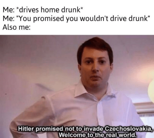 """you promised: Me: *drives home drunk*  Me: """"You promised you wouldn't drive drunk""""  Also me:  Hitler promised not to invade Czechoslovakia  Welcome to the real world"""