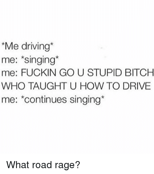 Bitch, Driving, and Singing: Me driving  me: singing  me: FUCKIN GO U STUPID BITCH  WHO TAUGHT U HOW TO DRIVE  me: continues singing What road rage?