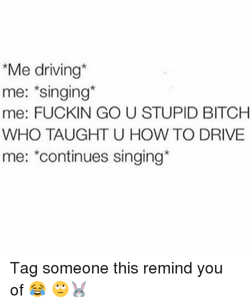 Bitch, Driving, and Memes: Me driving  me: Singing  me: FUCKIN GO U STUPID BITCH  WHO TAUGHT U HOW TO DRIVE  me: continues singing Tag someone this remind you of 😂 🙄🐰