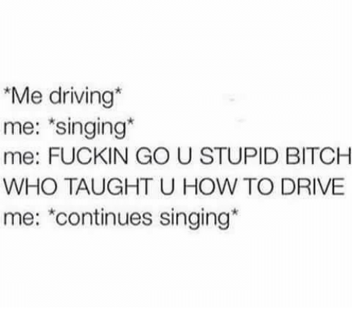 stupider: Me driving  me: *singing  me: FUCKIN GO U STUPID BITCHH  WHO TAUGHT U HOW TO DRIVE  me: continues singing*