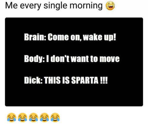Sparta: Me every single morning  Brain: Come on, wake up!  Body: I don't want to move  Dick: THIS IS SPARTA !!! 😂😂😂😂😂