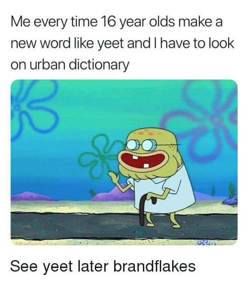 Urban Dictionary: Me every time 16 year olds make a  new word like yeet and I have to look  on urban dictionary See yeet later brandflakes
