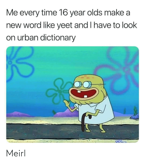 Urban Dictionary: Me every time 16 year olds make a  new word like yeet and I have to look  on urban dictionary Meirl