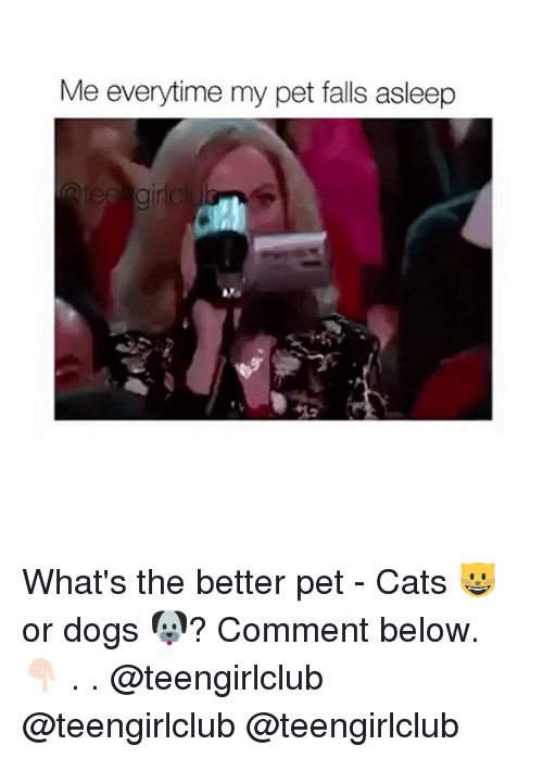 Cats, Dogs, and Girl: Me everytime my pet falls asleep  gir What's the better pet - Cats 😺or dogs 🐶? Comment below. 👇🏻 . . @teengirlclub @teengirlclub @teengirlclub