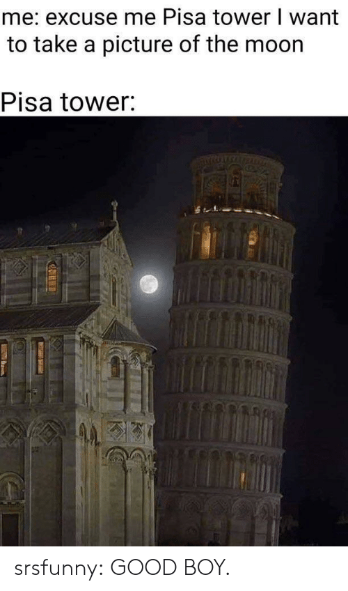 take a picture: me: excuse me Pisa tower I want  to take a picture of the moor  Pisa tower srsfunny:  GOOD BOY.