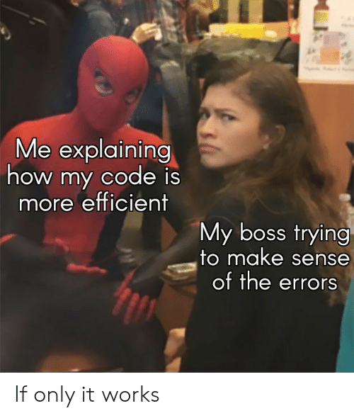 Me Explaining: Me explaining  how my code is  more efficient  My boss trying  to make sense  of the errors If only it works
